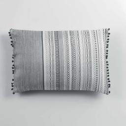 Coussin pompons 30 x 50 cm polyester imprime analea  des. place Noir/Blanc