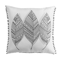 Coussin pompons 40 x 40 cm polyester imprime belinda  des. place Noir/Blanc