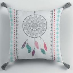 Coussin pompons 40 x 40 cm polyester imprime indila  des. place Blanc/Menthe