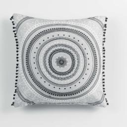 Coussin pompons 40 x 40 cm polyester imprime romana  des. place Noir/Blanc