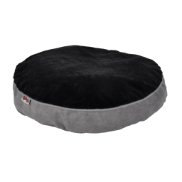 coussin rond ø60x8cm design polaire coloris gris/noir dehoussable avec zip