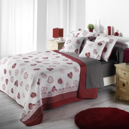 Couvre lit 2 pers. matelasse 220 x 240 cm microfibre imprimee olympe Rouge