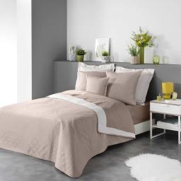 Couvre lit 220 x 240 cm en microfibre bicolore cottage Lin/blanc