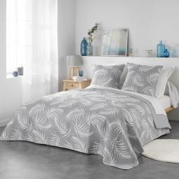 Couvre lit matelassé 220x240 cm + 2 housses de coussin 60x60 cm Microfibre Mesaline gris