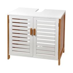 Dessous de lavabo en mdf + bambou 2 portes 60*30*h60cm blanc Blanc/bois