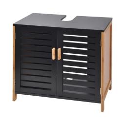 Dessous de lavabo en mdf + bambou 2 portes 60*30*h60cm noir Noir/bois
