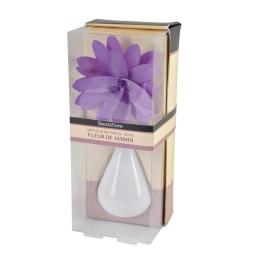 diffuseur en verre blanc et fleur 80ml - parfum jasmin/muguet
