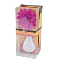diffuseur en verre blanc et fleur 80ml - parfum peche de vignes