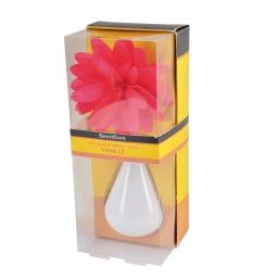 diffuseur en verre blanc et fleur 80ml - parfum vanille