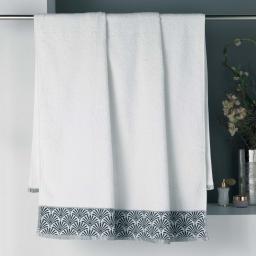 Drap de bain 90 x 150 cm absorbant éponge 450gr/m² goldy Blanc/argent