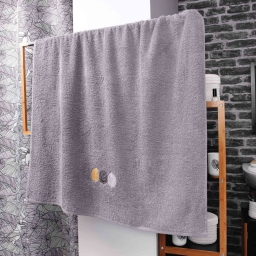 Drap de bain 90 x 150 cm eponge brodee fougerys Gris