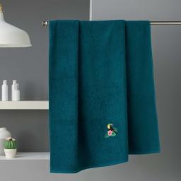 Drap de bain 90 x 150 cm éponge brodée toucalaos Bleu