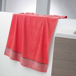 Drap de bain 90 x 150 cm eponge unie jacquard adelie Corail