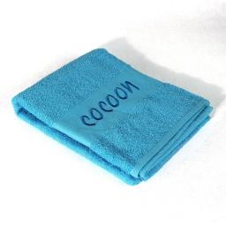 Drap de douche 70 x 130 cm eponge brodee cocoon Turquoise