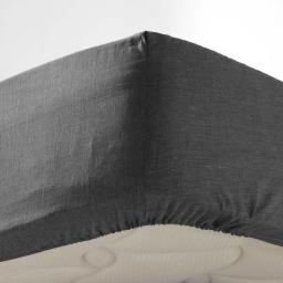Drap housse 1 personne 90 x 190 cm polycoton uni actually Anthracite