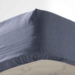 Drap housse 1 personne 90 x 190 cm polycoton uni actually Bleu