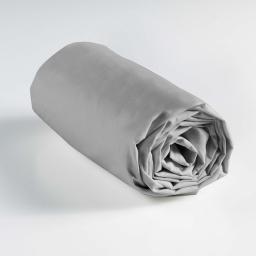 Drap housse 1 personne 90 x 190 cm uni 57 fils lina Galet
