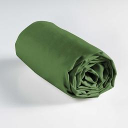 Drap housse 1 personne 90 x 190 cm uni 57 fils lina Vert sapin