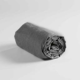 Drap housse 2 personnes 160 x 200 cm polycoton uni actually Anthracite