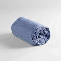 Drap housse 2 personnes 160 x 200 cm polycoton uni actually Bleu