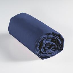Drap housse 2 personnes 160 x 200 cm uni 57 fils lina Bleu