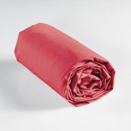 Drap housse 2 personnes 160 x 200 cm uni 57 fils lina Rouge