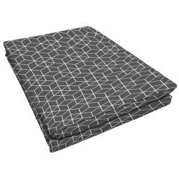 Drap plat 1 personne 180 x 290 cm imprime 57 fils allover optic Anthracite/Blanc
