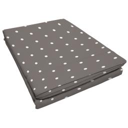 Drap plat 1 personne 180 x 290 cm imprime 57 fils allover pixa Taupe/Blanc