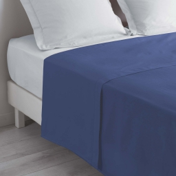 Drap plat 1 personne 180 x 290 cm uni 57 fils lina Bleu
