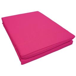 Drap plat 1 personne 180 x 290 cm uni 57 fils lina  + point bourdon Bois de rose
