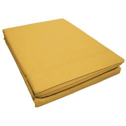 Drap plat 1 personne 180 x 290 cm uni 57 fils lina  + point bourdon Miel