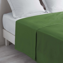 Drap plat 1 personne 180 x 290 cm uni 57 fils lina  +point bourdon Vert sapin