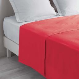 Drap plat 1 personne 180 x 290 cm uni 57 fils lina Rouge
