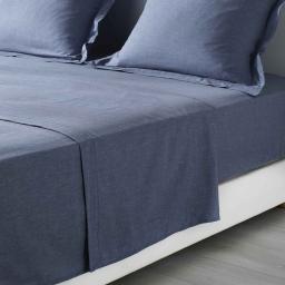 Drap plat 2 personnes 240 x 300 cm polycoton uni actually  +point bourdon Bleu