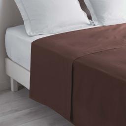 Drap plat 2 personnes 240 x 300 cm uni 57 fils lina Chocolat