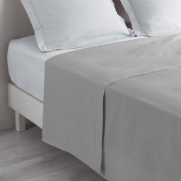 Drap plat lit 1 personne 180 x 290 cm 100% coton 57 fils couleur gris Galet