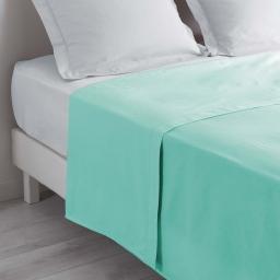 Drap plat lit 2 personnes 240x300 cm 100% coton 57 fils couleur Menthe
