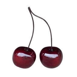 duo de cerises en polyrésine l.20*p.17*h.17>60cm laquée rouge foncé