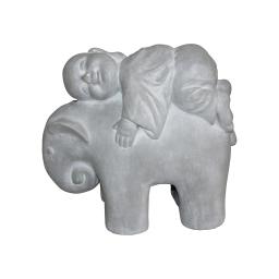 elephant et moine magnesie 41*19*h35cm blanc