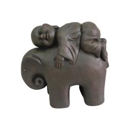 elephant et moine magnesie 41*19*h35cm chocolat