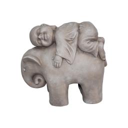 elephant et moine magnesie 41*19*h35cm creme