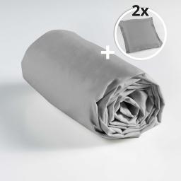 Ensemble drap housse 160 x 200 cm + 2 taies d'oreiller 63 x 63 100% coton Galet