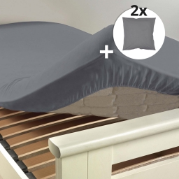 Ensemble drap housse 180 x 200 cm + 2 taies d'oreiller 63 x 63 100% coton Gris souris