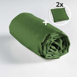 Ensemble drap housse 180 x 200 cm + 2 taies d'oreiller 63 x 63 100% coton Vert sapin