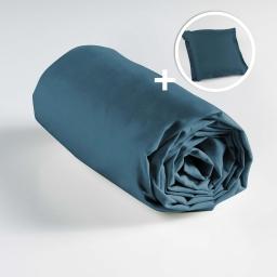 Ensemble drap housse 90 x 190 + 1 taie d'oreiller 63 x 63 100% coton Bleu nuit