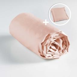 Ensemble drap housse 90 x 190 + 1 taie d'oreiller 63 x 63 100% coton Nude