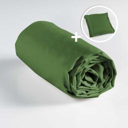 Ensemble drap housse 90 x 190 + 1 taie d'oreiller 63 x 63 100% coton  Vert sapin