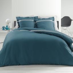 Ensemble en percale 78 fils parure 220x240 cm Satinéa bleu + drap housse 140x190 cm gris
