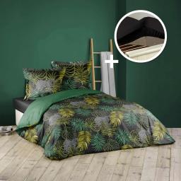 Ensemble parure de couette 240x220 cm Tropical green + drap housse 140x190 Noir