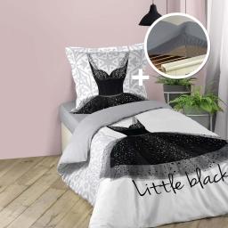 Ensemble parure de couette enfant 140 x 200 Black dress + drap housse 90 x 190 Gris